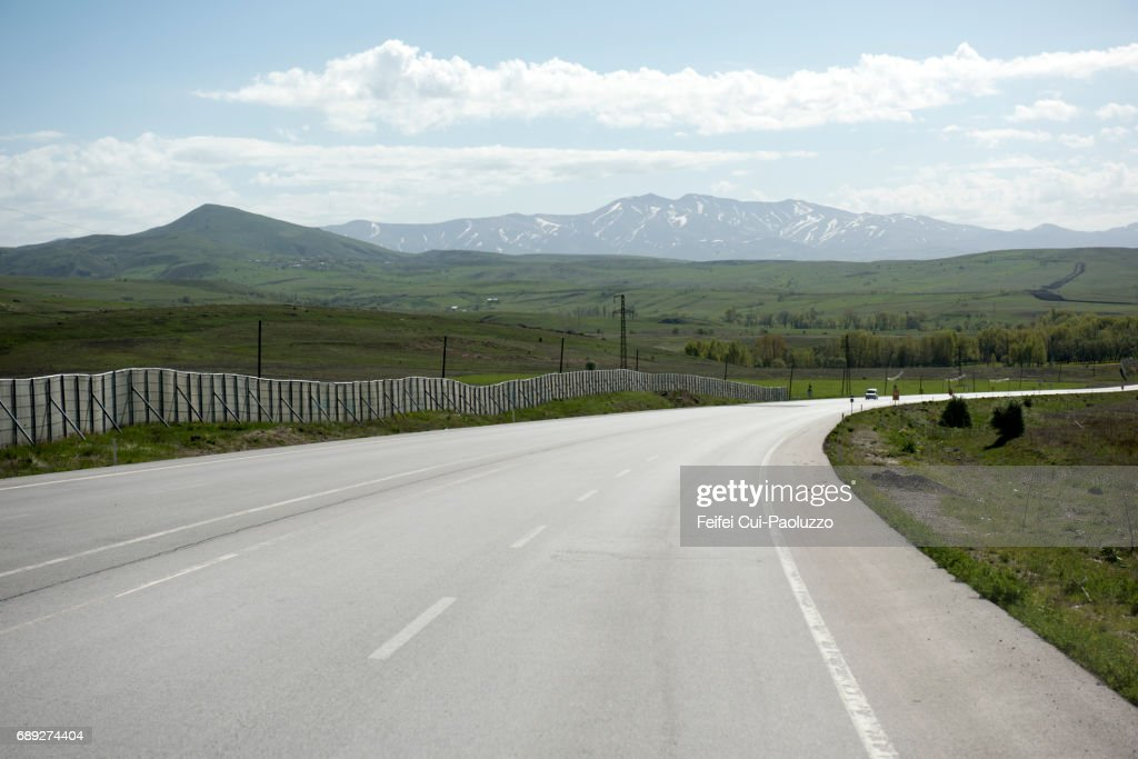 Winding road near Zara, Sivas Province, Central Anatolia, Turkey. : Stock Photo