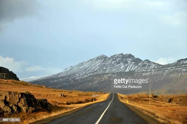 Winding road of Alftafjordur, east fjords Iceland