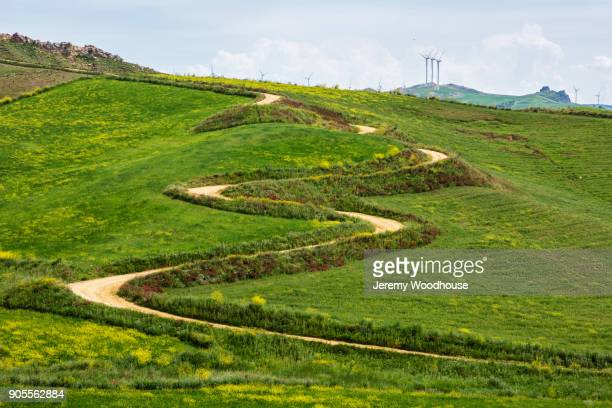 Winding road on hill