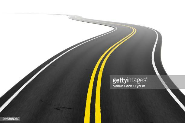 winding road over white background - marca de rua - fotografias e filmes do acervo