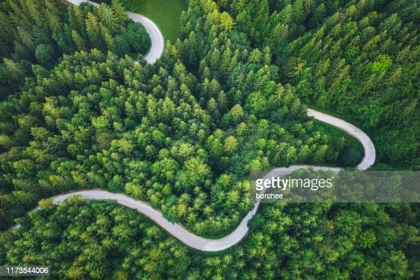 winding road - drone point of view stock pictures, royalty-free photos & images