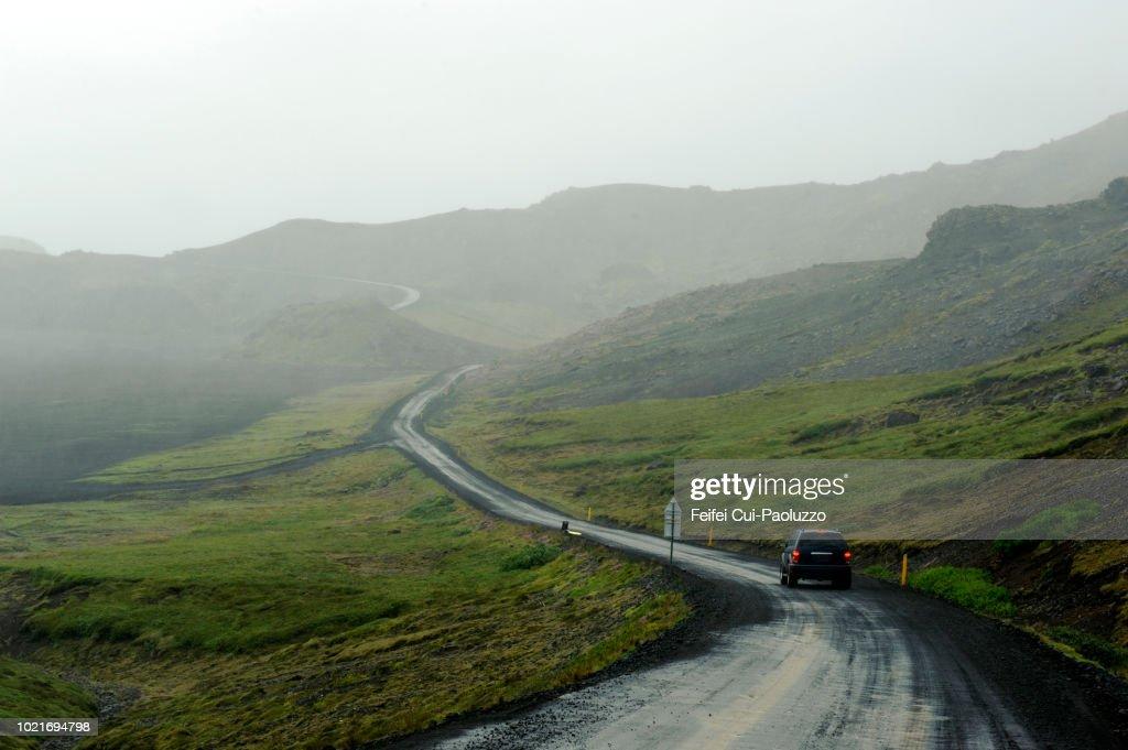 winding road to kleifarvatn lake at reykjanes peninsula iceland