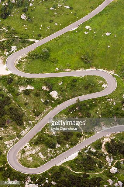 Winding road to Passo Falzarego pass, Dolomites, Alto Adige, South Tirol, Alps, Italy, Europe