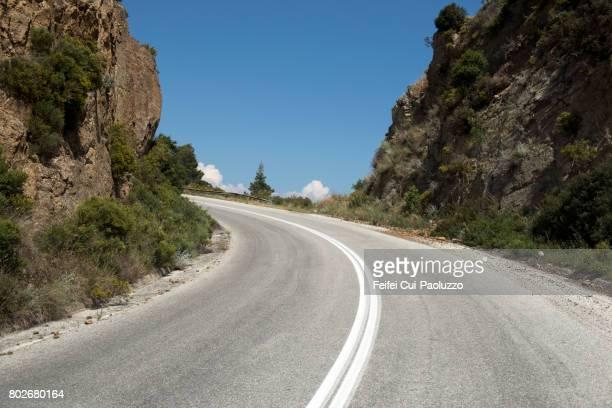 Winding road to Vourvourou, Sithonia peninsula, Halkidiki, Central Macedonia, Northern Greece