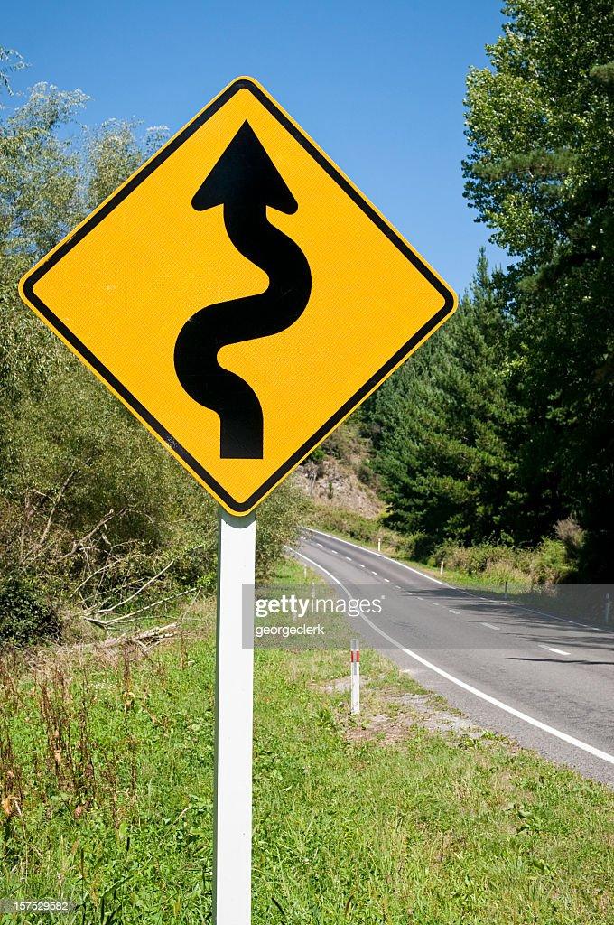 Winding Road Warning Sign : Stock Photo