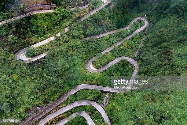 Winding roads of Zhangjiajie Tianmen shan
