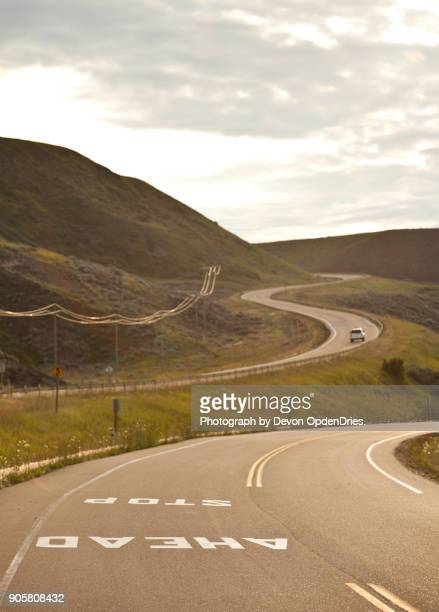 Winding Roads With Vehicle Driving Away