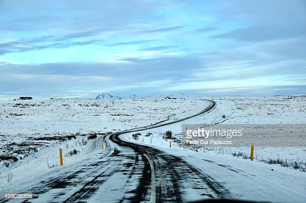 Winding snowy road to Borgarnes Iceland
