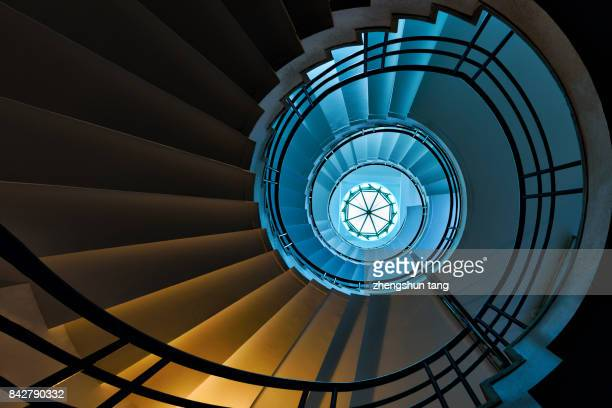 winding stair - spiral stock pictures, royalty-free photos & images