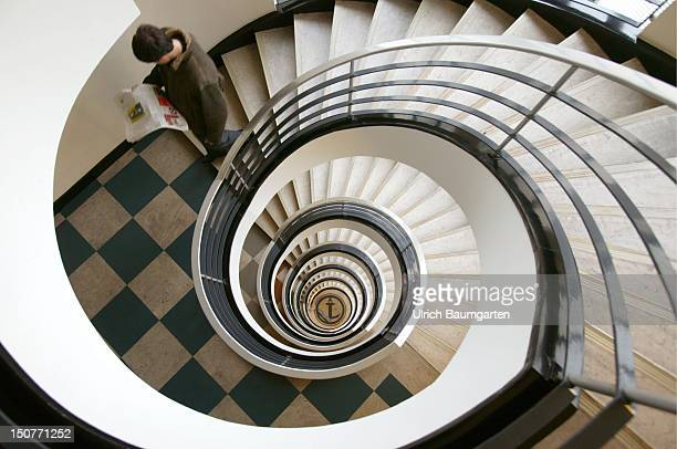 Winding staircase in an office building