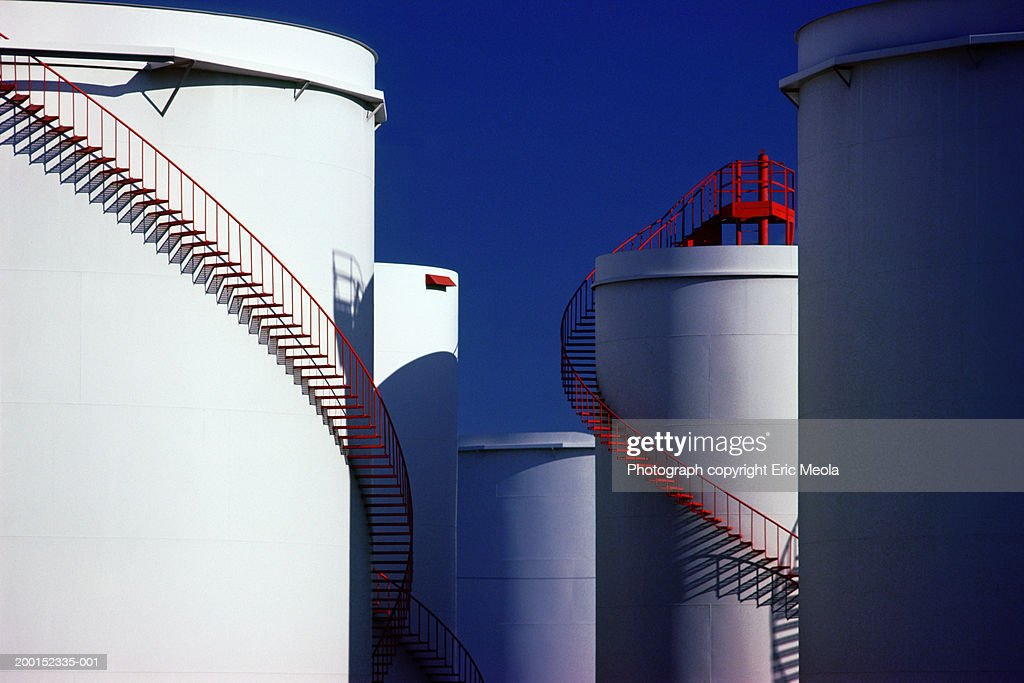 Winding Staircases On Oil Storage Tanks Stock Photo - Getty