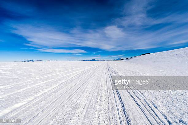hagglund snow vehicle tracks cross a vast snow plain on top of the ross ice shelf - ross ice shelf stock photos and pictures