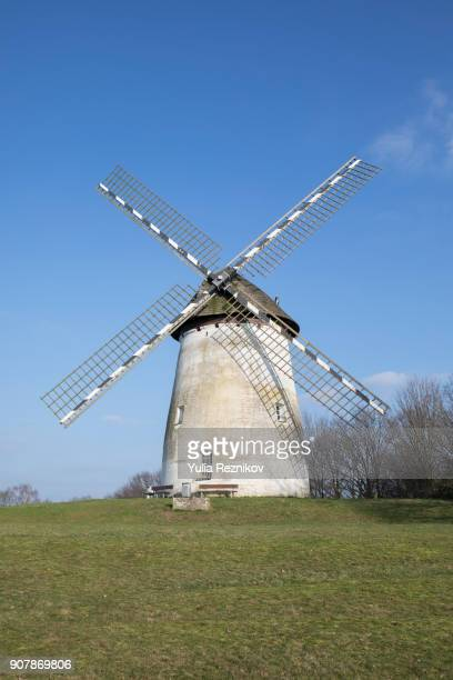 windmild in krefeld, germany - old windmill stock photos and pictures