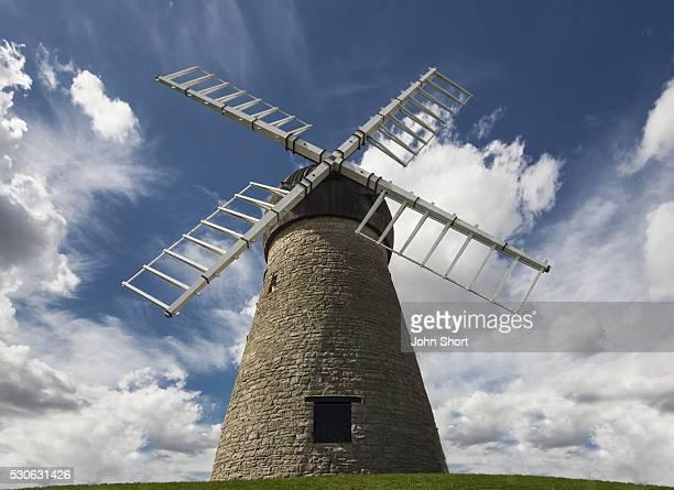 Windmill Against A Blue Sky With Cloud; Whitburn, Tyne And Wear, England