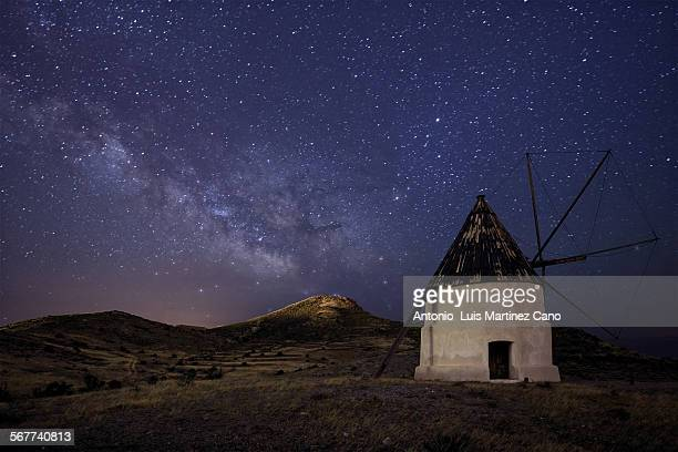 Windmill and milky way