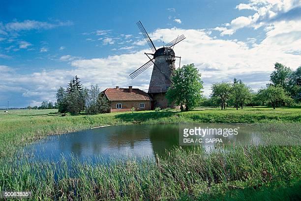 Windmill and pond Eleja Latvia