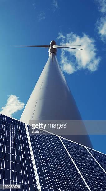 風車、ソーラーパネル