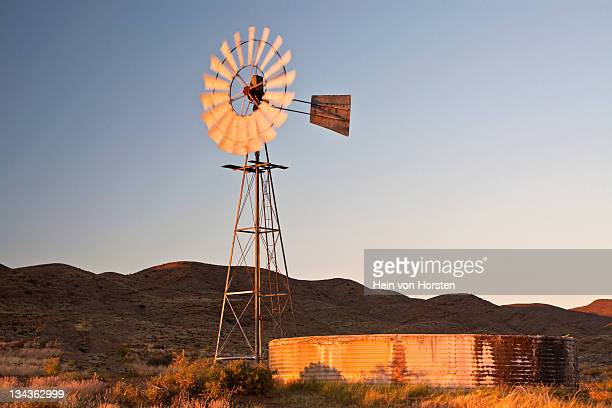 windmill at first light, karoo, western cape province, south africa - the karoo stock photos and pictures