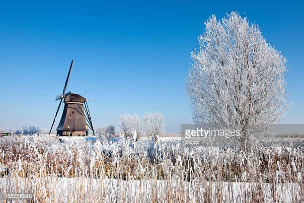 windmill at Kinderdijk in wintry landscape