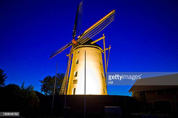 Windmill at night, Buettgen, Kaarst, North Rhine-Westphalia, Germany, Europe