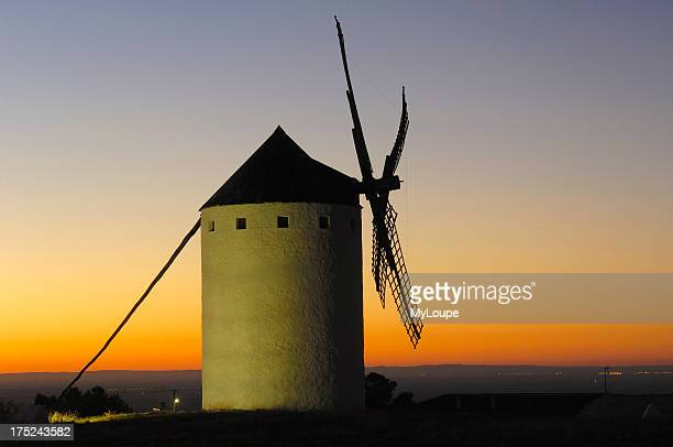Windmill at Sunset Campo de Criptana Ciudad Real province Ruta de don Quijote CastillaLa Mancha Spain