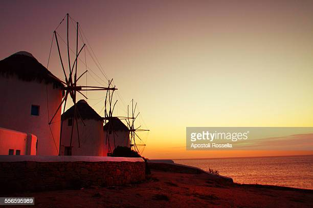 Windmill at sunset in Mykonos