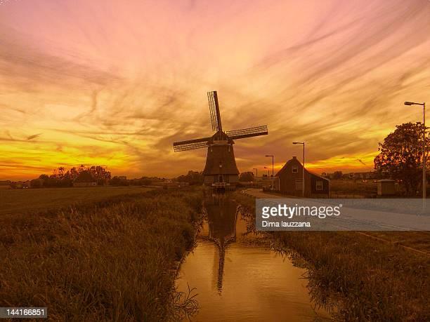Windmill at sunset in Volendam