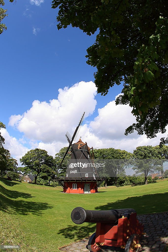 Windmill at the Copenhagen Citadel - Kastellet : Stock Photo