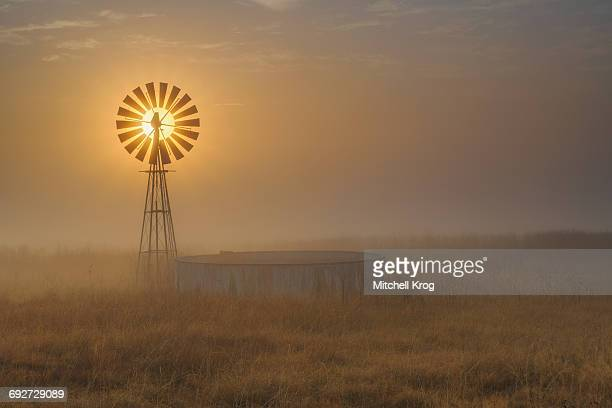 Windmill Backlit at Sunrise in the Mist and Fog of a Cold Winter Morning, Free State Province, South Africa