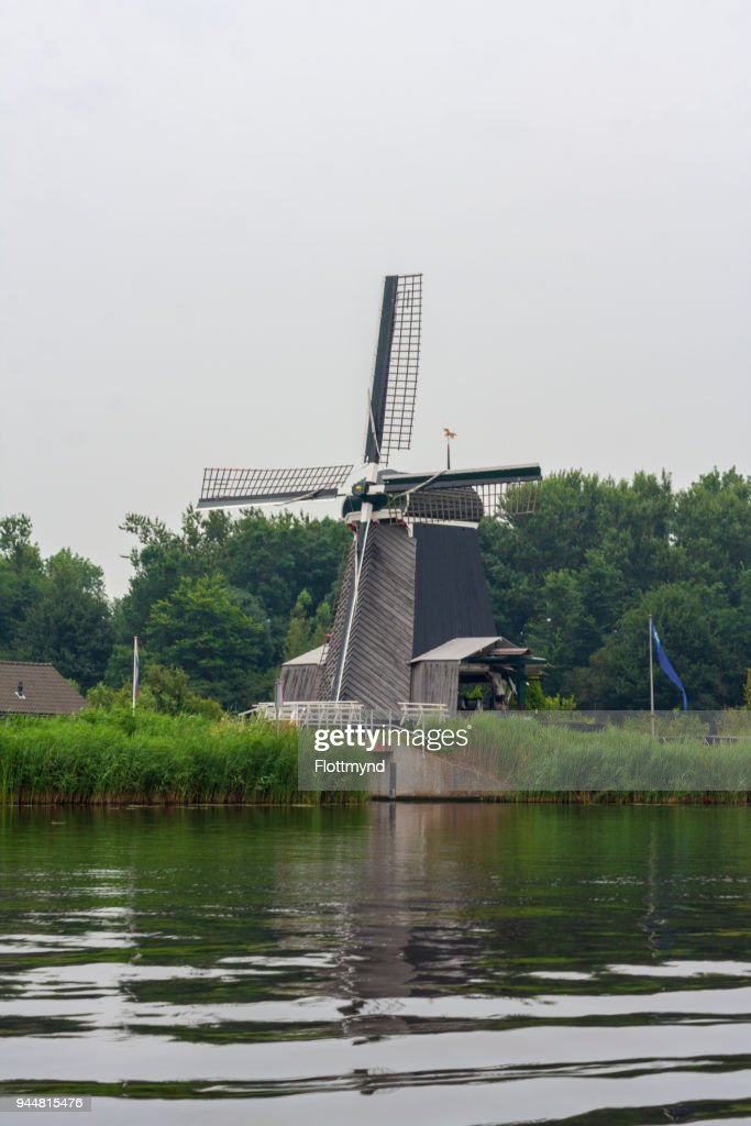 Windmill De Eenhoorn in Haarlem, the Netherlands : Foto de stock