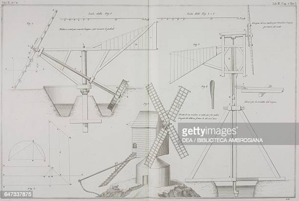 Windmill design for raising the water engraving by Giacomo Bassaglia from Hydraulic Architecture or the Art of conducting elevating and managing...