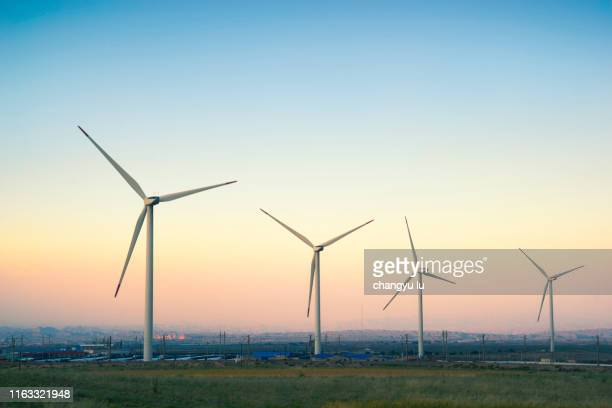 wind-mill generator;wind-driven generator - gansu province stock pictures, royalty-free photos & images
