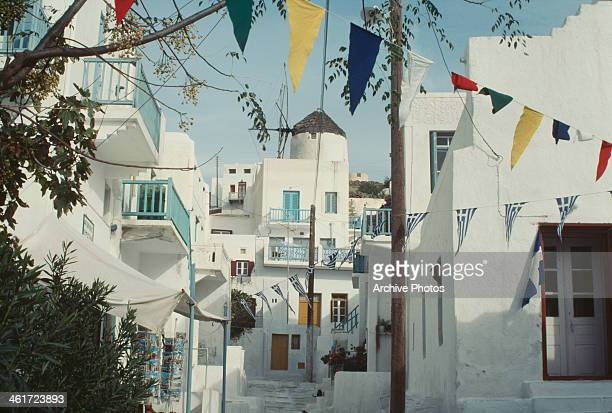 A windmill in a town on the island of Mykonos Greece circa 1960