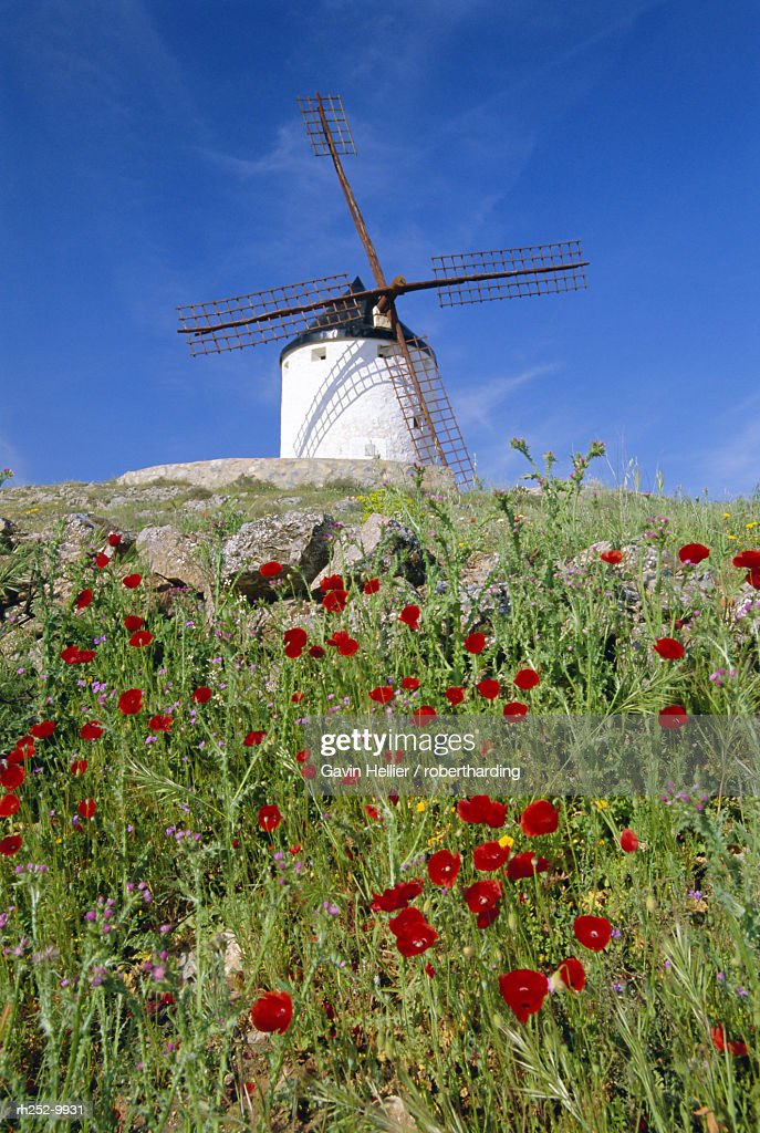 Windmill in Consuegra, Castilla La Mancha, Spain : Stockfoto