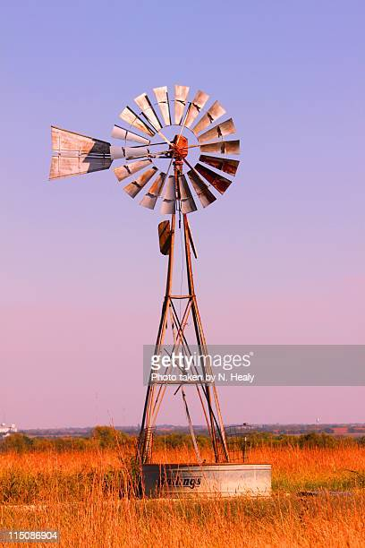windmill in pasture land at dawn - old windmill stock photos and pictures