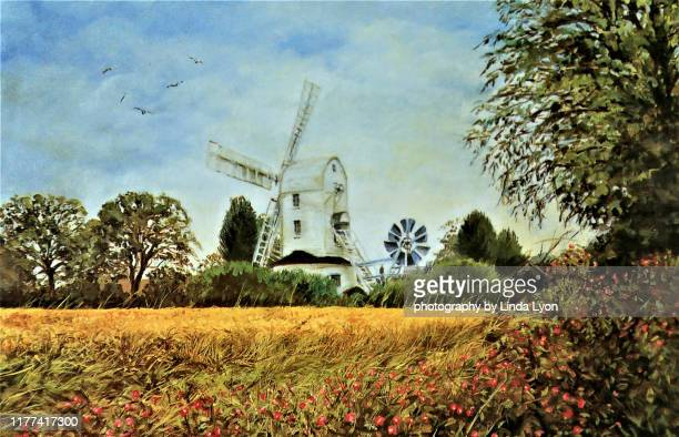 windmill in the country oil painting - ölgemälde stock-fotos und bilder