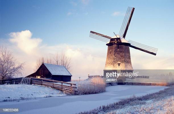 Windmill in Winter Landscape