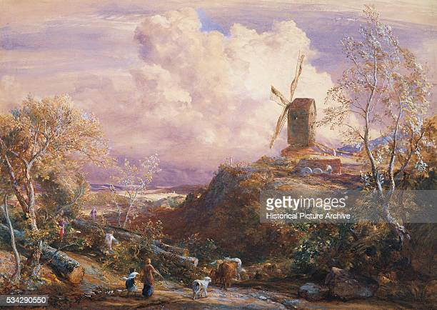 Windmill on Hill With Catle Drones by John Constable