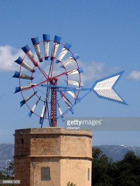 windmill, portixol, palma de mallorca, spain - american style windmill stock pictures, royalty-free photos & images