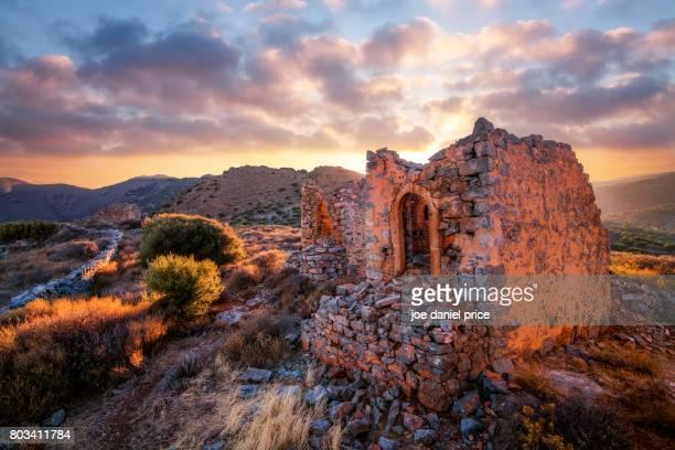Windmill Ruins on the mountain near Elounda, Crete, Greece