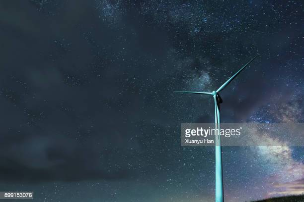 windmill turbine at night in fron of milkyway