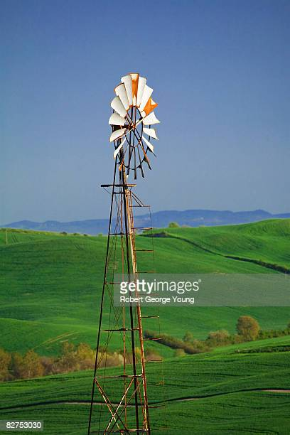 windmill, tuscany - american style windmill stock pictures, royalty-free photos & images