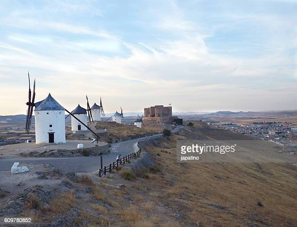 Windmills and castle in the town of Consuegra in the province of Toledo