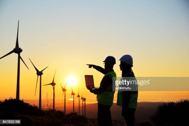 os moinhos de vento e trabalhadores - environment - fotografias e filmes do acervo