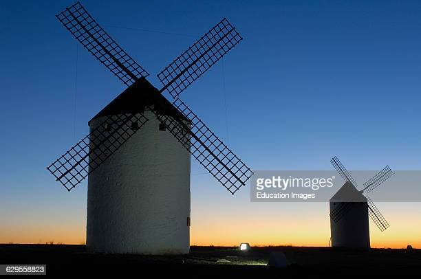 Windmills at Sunset Campo de Criptana Ciudad Real province Ruta de don Quijote CastillaLa Mancha Spain