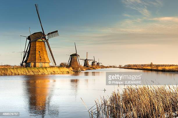 windmills at sunset in kinderdijk - niederlande stock-fotos und bilder