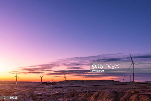 Windmills at the sunset