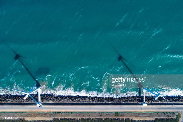 windmills by the sea - 地形 ストックフォトと画像