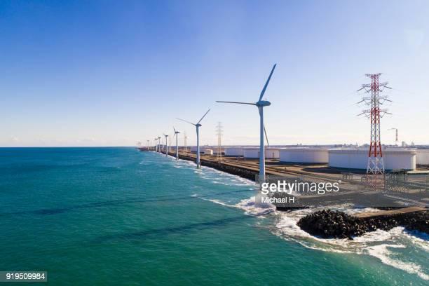 windmills by the sea - 発電 ストックフォトと画像
