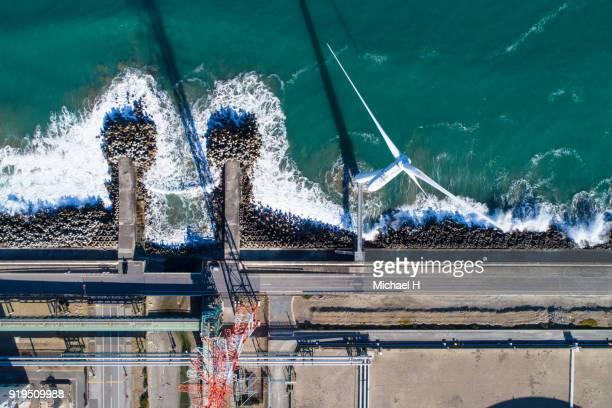 windmills by the sea - 沿岸 ストックフォトと画像